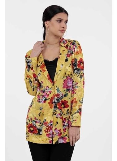 Vitrin Renkli Çiçek Desenli Blazer Ceket Sarı